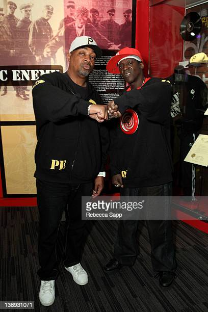 Chuck D and Flavor Flav of Public Enemy at the Public Enemy exhibit at An Evening With Public Enemy at The GRAMMY Museum on February 13 2012 in Los...