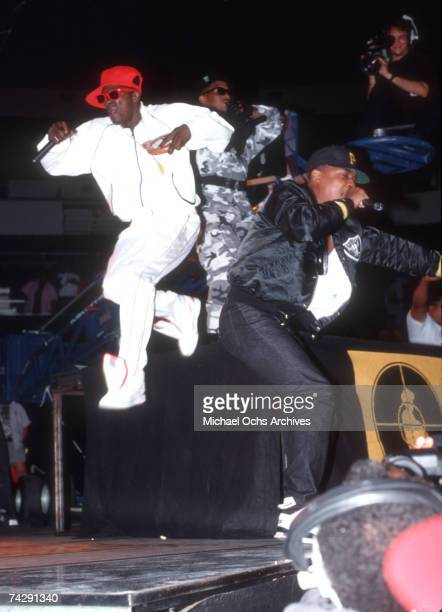 Chuck D and Flavor Flav of the rap group Public Enemy perform onstage in August 1988 in New York New York