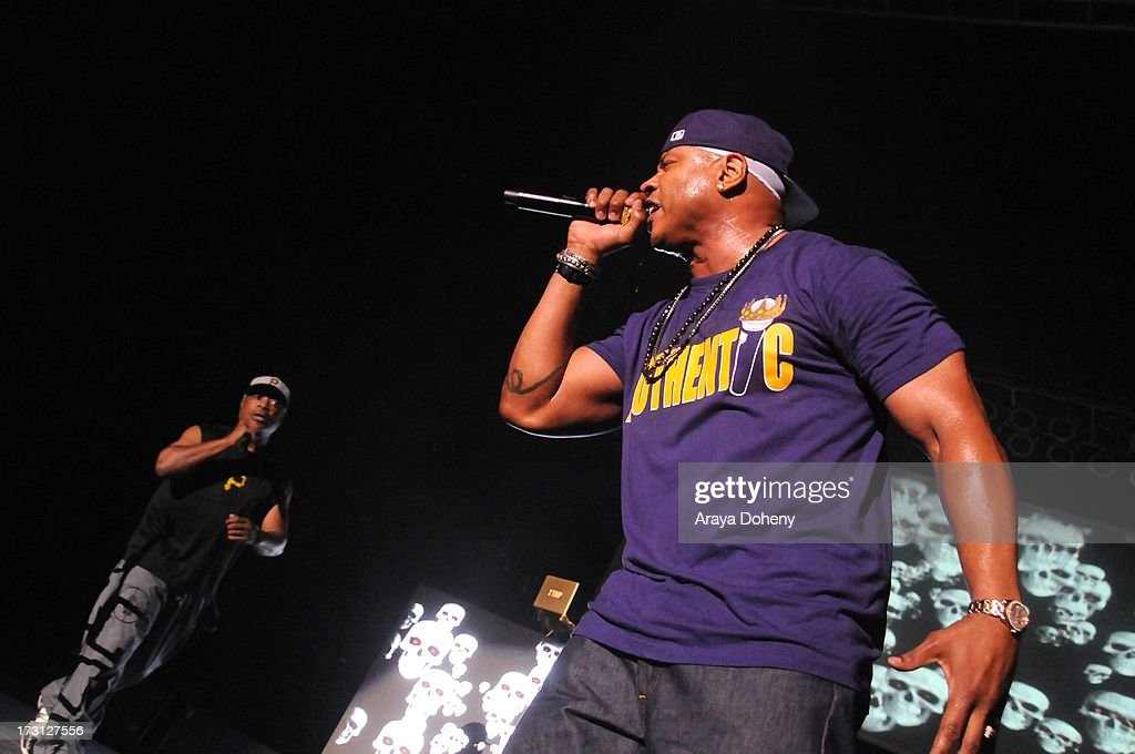 Chuck D and LL Cool J perform on stage at the Kings of the Mic Tour with special guests LL Cool J, Ice Cube, Public Enemy and De La Soul at The Greek Theatre on July 7, 2013 in Los Angeles, California.