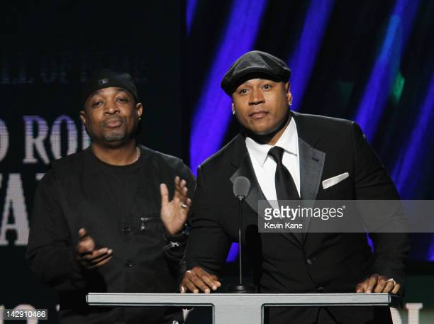 Chuck D and LL Cool J speak on stage during the 27th Annual Rock And Roll Hall Of Fame Induction Ceremony at Public Hall on April 14 2012 in...