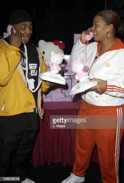 Chuck D and Queen Latifah with Hello Kitty phones during 2002 Billboard Music Awards Backstage Creations Talent Retreat Show Day at MGM Grand Hotel...