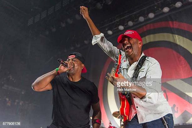Chuck D and Tom Morello of Prophets of Rage perform at The Agora Theatre during the RNC on July 19 2016 in Cleveland Ohio