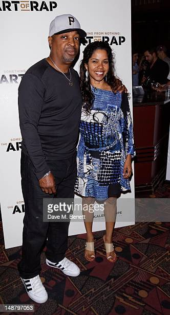 Chuck D and wife Gaye Theresa Johnson attend The Art of Rap European premiere and concert at Hammersmith Apollo on July 19 2012 in London England
