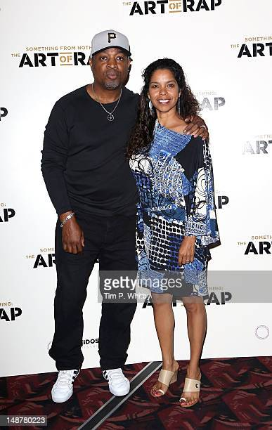 Chuck D and wife Gaye Theresa Johnson attend the European premiere of The Art of Rap at Hammersmith Apollo on July 19 2012 in London England