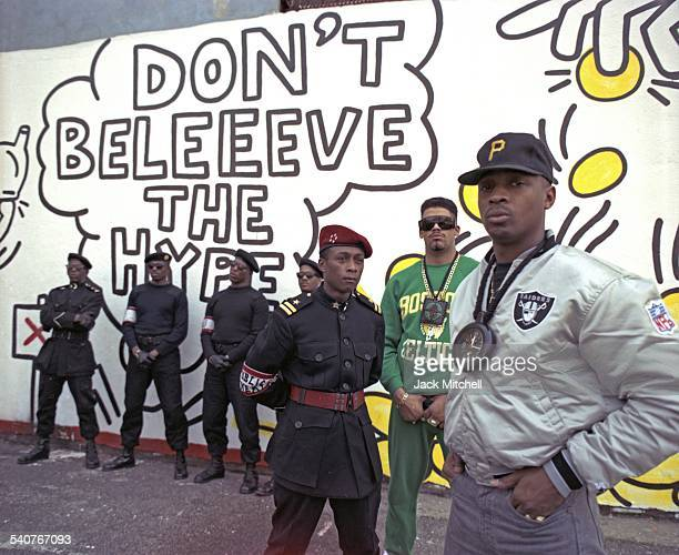Chuck D Flavor Flav Terminator X and members of the hip hop group Public Enemy photographed in September 1988
