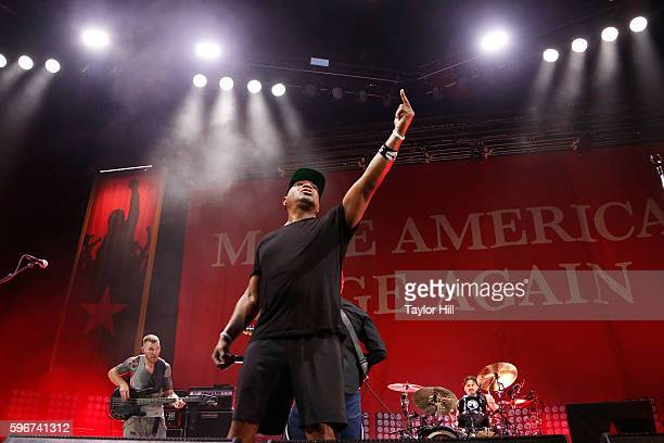 Chuck D of Prophets of Rage performs during the 'Make America Rage Again' tour at Barclays Center on August 27 2016 in New York City