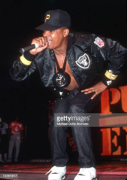 Chuck D of the rap group 'Public Enemy' performs onstage in August 1988