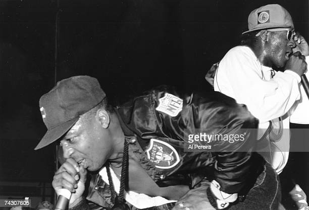 Chuck D of the rap group 'Public Enemy' performs onstage in circa 1988 in New York New York