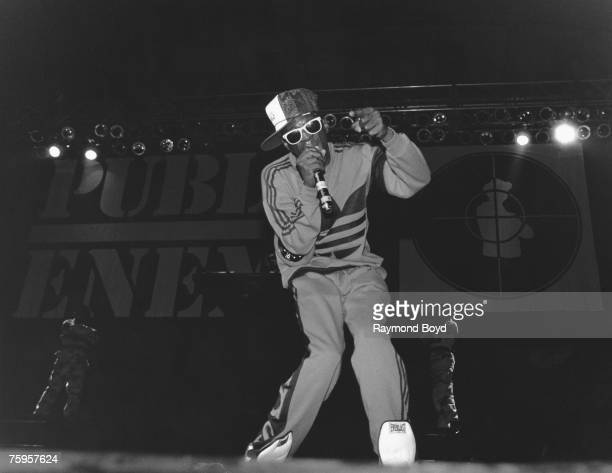 Chuck D of the rap group Public Enemy performs onstage in February 1989 in Chicago Illinois