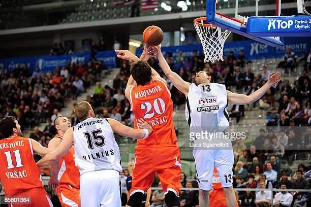 Chuck Eidson, #13 of Lietuvos Rytas competes with Boban Marjanovic, #20 of Hemofarm Stada during Eurocup Basketball Semi Final 1, Hemofarm Stada v...