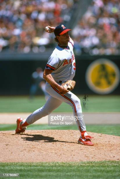Chuck Finley of California Angels pitches against the Oakland Athletics during an Major League Baseball game circa 1991 at the OaklandAlameda County...