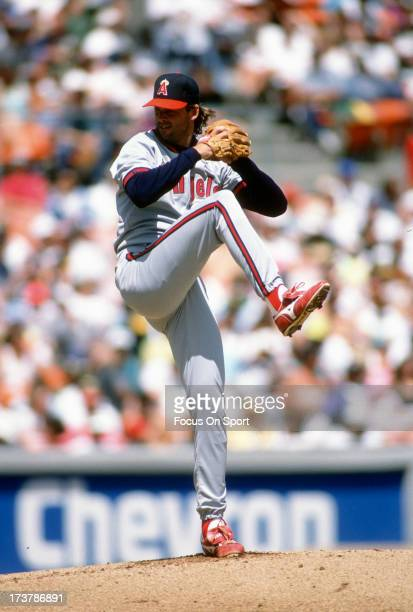Chuck Finley of California Angels pitches against the Oakland Athletics during an Major League Baseball game circa 1992 at the OaklandAlameda County...