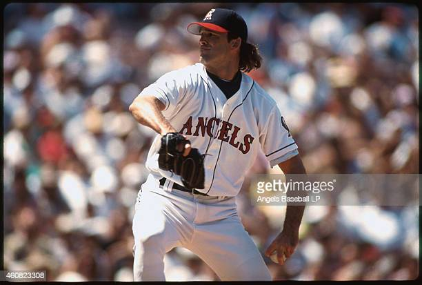 Chuck Finley of the California Angels pitches during a game at Anaheim Stadium in Anaheim California Chuck Finley played for the Angels from 19861999