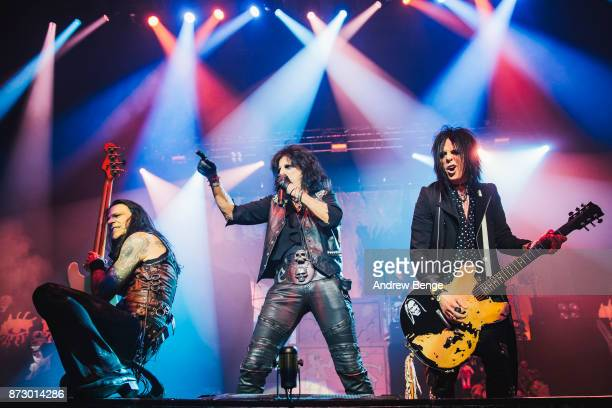 Chuck Garric Alice Cooper and Tommy Henriksen perform at First Direct Arena Leeds on November 11 2017 in Leeds England