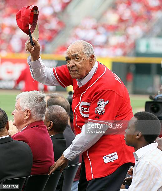 Chuck Harmon waves to the crowd before the Gillette Civil Rights Game between the Cincinnati Reds and the St Louis Cardinals at Great American Ball...