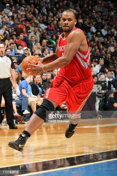Chuck Hayes of the Houston Rockets in action against the Minnesota Timberwolves during the game on April 13 2011 at Target Center in Minneapolis...