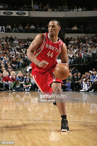 Chuck Hayes of the Houston Rockets moves the ball up court during the game against the Dallas Mavericks at American Airlines Center on March 6 2006...