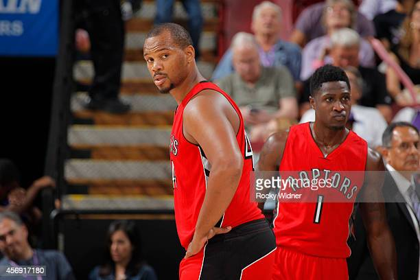 Chuck Hayes of the Toronto Raptors in a game against the Sacramento Kings on October 7 2014 at Sleep Train Arena in Sacramento California NOTE TO...