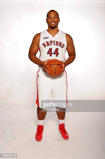 Chuck Hayes of the Toronto Raptors poses for a photo during Media Day at the Air Canada Centre in Toronto Ontario Canada on September 29 2014 NOTE TO...