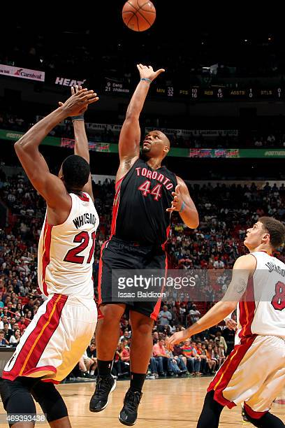 Chuck Hayes of the Toronto Raptors shoots against the Miami Heat on April 11 2015 at American Airlines Arena in Miami Florida NOTE TO USER User...