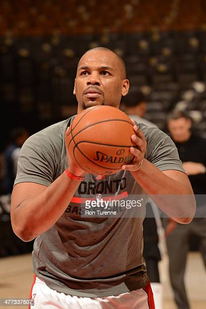Chuck Hayes of the Toronto Raptors warms up before a game against the Sacramento Kings on March 7 2014 at the Air Canada Centre in Toronto Ontario...
