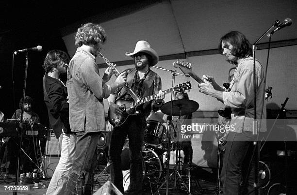 Chuck Leavell, Scott Boyer, Randall Bramlett, Toy Caldwell and Dickey Betts, jamming onstage. At the Great Southeast Music Hall in Atlanta, Georgia