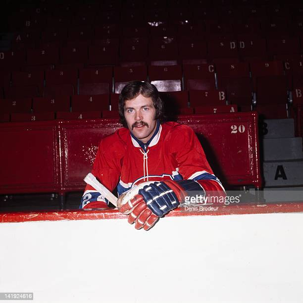 Chuck Lefley of the Montreal Canadiens poses for a photo on the bench Circa 1970 at the Montreal Forum in Montreal Quebec Canada