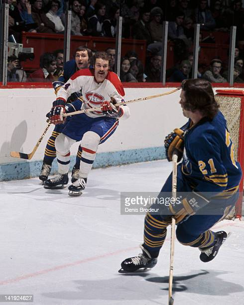 Chuck Lefley of the Montreal Canadiens skates against the Buffalo Sabres Circa 1970 at the Montreal Forum in Montreal Quebec Canada