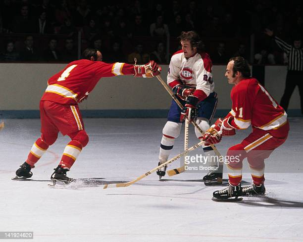 Chuck Lefley of the Montreal Canadiens skates against the Calgary Flames Circa 1970 at the Montreal Forum in Montreal Quebec Canada