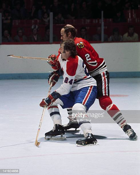Chuck Lefley of the Montreal Canadiens skates against the Chicago Blackhawks Circa 1970 at the Montreal Forum in Montreal Quebec Canada