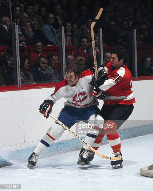 Chuck Lefley of the Montreal Canadiens skates against the Philadelphia Flyers Circa 1970 at the Montreal Forum in Montreal Quebec Canada