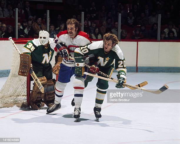 Chuck Lefley of the Montreal Canadiens skates against the Minnesota North Stars Circa 1970 at the Montreal Forum in Montreal Quebec Canada