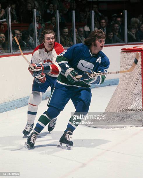 Chuck Lefley of the Montreal Canadiens skates against the Vancouver Canucks Circa 1970 at the Montreal Forum in Montreal Quebec Canada