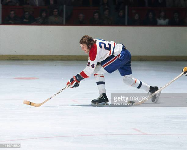 Chuck Lefley of the Montreal Canadiens skates up the rink Circa 1970 at the Montreal Forum in Montreal Quebec Canada