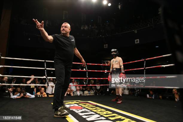 Chuck Liddell and Aaron Carter during the celebrity boxing match at Showboat Atlantic City on June 11, 2021 in Atlantic City, New Jersey.