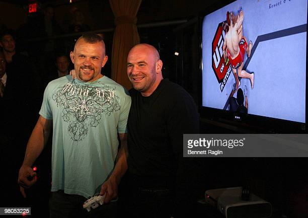 Chuck Liddell and Dana White President of the UFC attend the New York premiere of 'UFC Undisputed 2010' at M2 Ultra Lounge on March 25 2010 in New...
