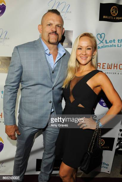 Chuck Liddell and Heidi Liddell attend the Let The Animals Live Soiree Arrivals at a Private Residence on October 22 2017 in Beverly Hills California