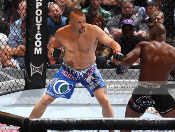 Chuck Liddell fights against Rashad Evans during a Light Heavyweight bout at UFC 88 at Philips Arena on September 6 2008 in Atlanta Georgia