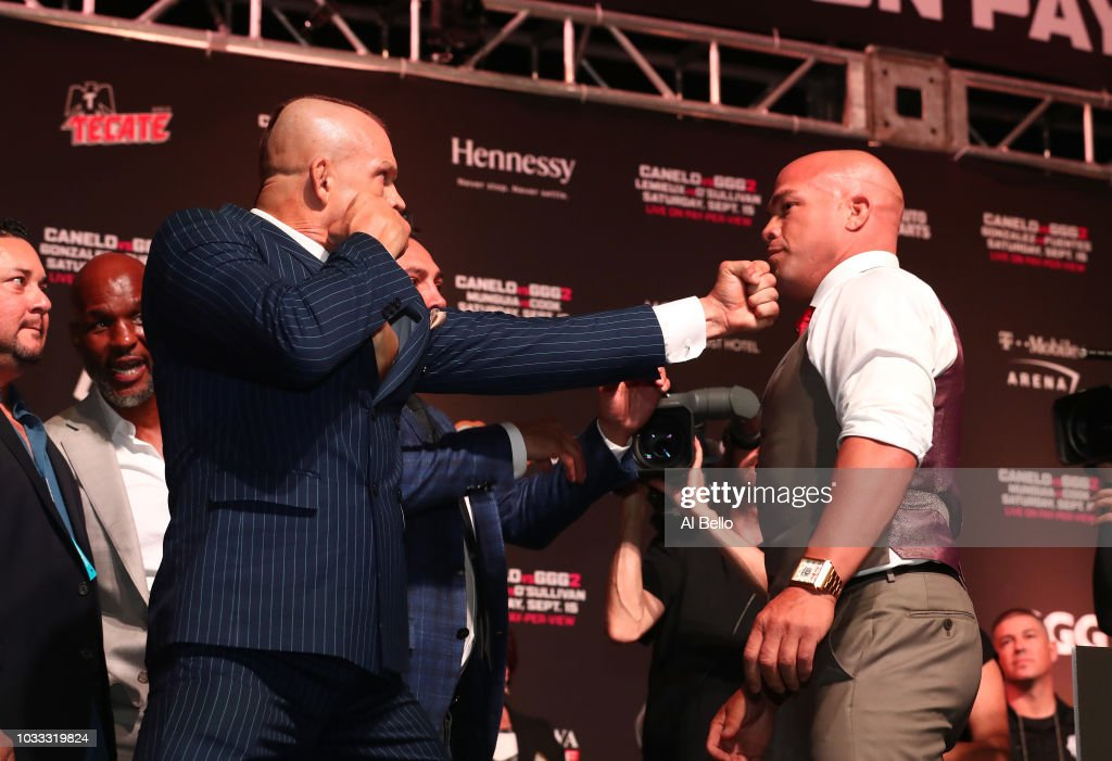 Chuck Liddell poses with Tito Ortiz for their November 24th bout in Las Vegas at the T Mobile Arena on September 14, 2018 in Las Vegas, Nevada.