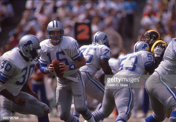 ANAHEIM CA Chuck Long of the Detroit Lions circa 1986 drops back to pass against the Los Angeles Rams at Anaheim Stadium in Anaheim California