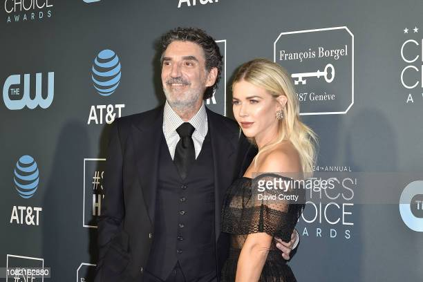 Chuck Lorre and Arielle Lorre attend the 24th Annual Critics' Choice Awards Arrivals at Barker Hangar on January 13 2019 in Santa Monica California
