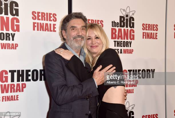 Chuck Lorre and Kaley Cuoco attend the series finale party for CBS' The Big Bang Theory at The Langham Huntington Pasadena on May 01 2019 in Pasadena...