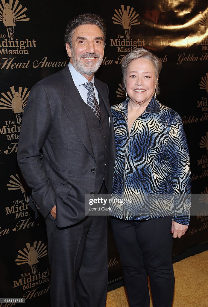 Chuck Lorre and Kathy Bates attend Midnight Mission's Golden Heart Awards Gala at the Beverly Wilshire Four Seasons Hotel on October 6, 2016 in Beverly Hills, California.