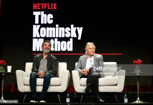 Chuck Lorre and Michael Douglas of 'The Kominsky Method' speak onstage during Netflix TCA 2018 at The Beverly Hilton Hotel on July 29 2018 in Beverly...