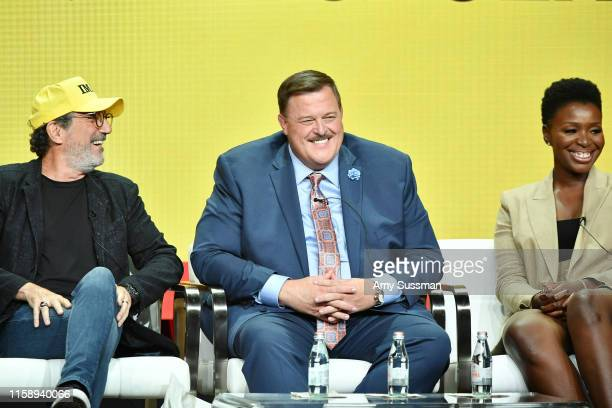 Chuck Lorre Billy Gardell and Folake Olowofoyeku of Bob Hearts Abishola speak during the CBS segment of the 2019 Summer TCA Press Tour at The Beverly...