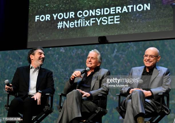 Chuck Lorre Michael Douglas and Alan Arkin speak onstage at the Netflix The Kominsky Method FYSEE Event at Raleigh Studios on June 08 2019 in Los...