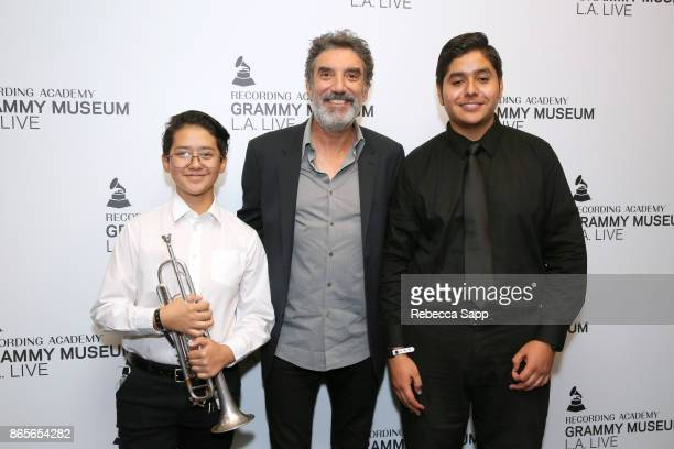 Chuck Lorre with band students from Robert Fulton College Preparatory School at GRAMMY Signature Schools Enterprise Award Presentation on October 23...