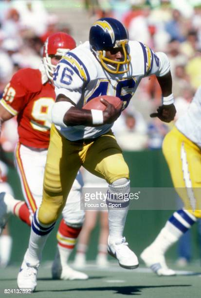 Chuck Muncie of the San Diego Chargers carries the ball against the Kansas City Chiefs during an NFL football game September 20 1981 at Arrowhead...