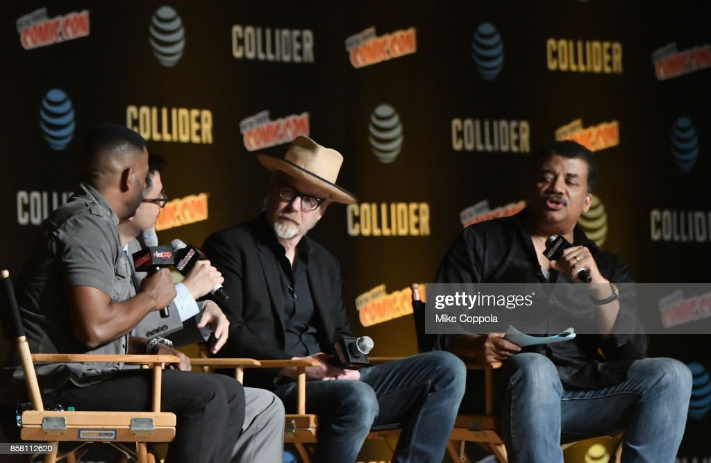 Chuck Nice, Adam Savage and Neil deGrasse Tyson speak onstage during the StarTalk Radio Panel during the 2017 New York Comic Con - Day 1 on October 5, 2017 in New York City.