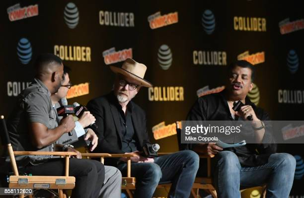 Chuck Nice Adam Savage and Neil deGrasse Tyson speak onstage during the StarTalk Radio Panel during the 2017 New York Comic Con Day 1 on October 5...